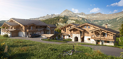 3D computer image of two chalets in the mountains in summer