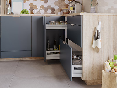 3D graphics of the open storage of a functional kitchen