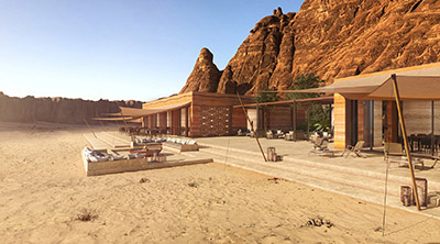 3D image of luxury villas in the desert of Morocco