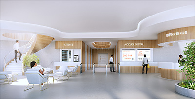 3D image of a lobby and a waiting room of a company