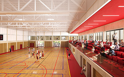3D image of a gymnasium in which a basketball game is taking place
