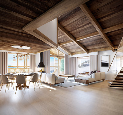 3D perspective of a living room in a modern chalet