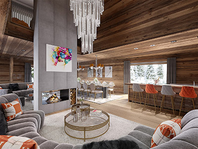 3D image of a luxury living room in a mountain chalet