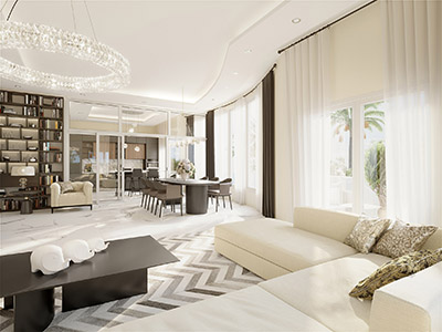 Luxurious and modern living room created by 3D computer graphics artists