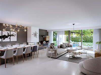 3D rendering of the living room of a modern villa with pool