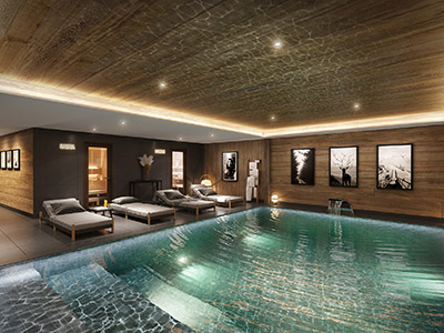 3D rendering of an indoor pool in a rustic chalet