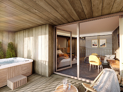 3D visualization of a chalet apartment with terrace and spa