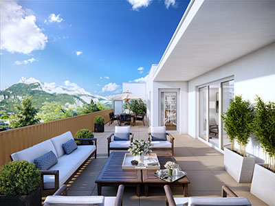 3D view of a modern terrace in the mountain