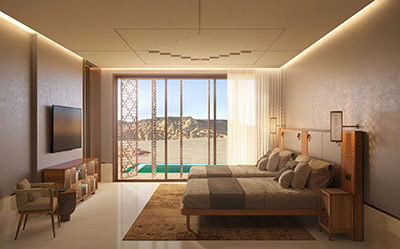 Photorealistic 3D rendering of a luxury room in Morocco