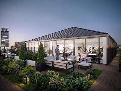 3D visualization of the rooftop of a Parisian company