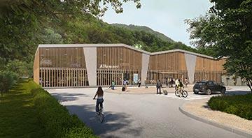 Perspective architecturale 3D de l'extérieur d'un parking dans son environnement réel