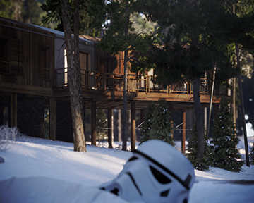 3D render of the exterior of a cabin project in a snowy forest