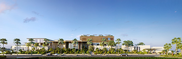 Perspective extérieure d'un palace à Cannes pour un concours d'architecture