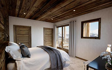3D interior Visualization of a bedroom in a luxury chalet