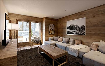 3D playroom render in a luxury chalet