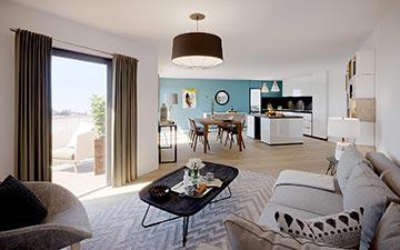 Perspective intérieure 3D d'un salon de logement neuf pour sa promotion