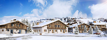3D perspective overview of an insertion of a chalet group in a snowy landscape