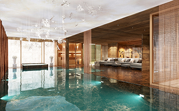 3D view of a pool for a luxury chalet project