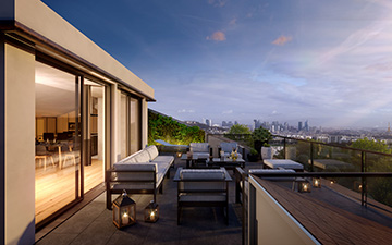 3D render of a terrace for real estate development