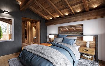 Vue 3D d'une chambre d'un chalet de luxe pour une promotion immobilière