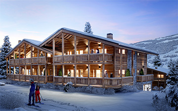 3D exterior visualization of a cosy family chalet in a snowy environment