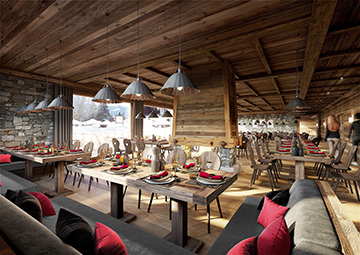 3D interior visualization of a chalet-hotel restaurant