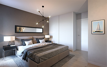 3D bedroom render for real-estate development