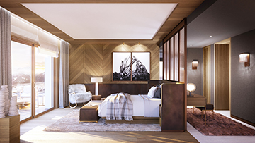 Perspective in 3D of a luxury room in a high-end chalet in Meribel