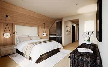Image de synthèse 3D d'une chambre de chalet à Samoens