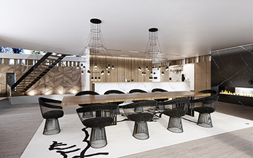 3D Visualization of a luxury villa lunchroom