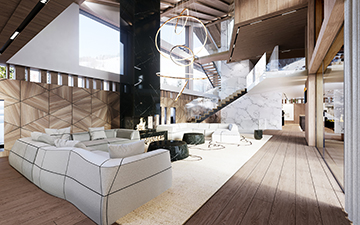 3D interior Perspective of a luxury chalet