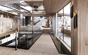 View in 3D perspective of a luxury chalet interior