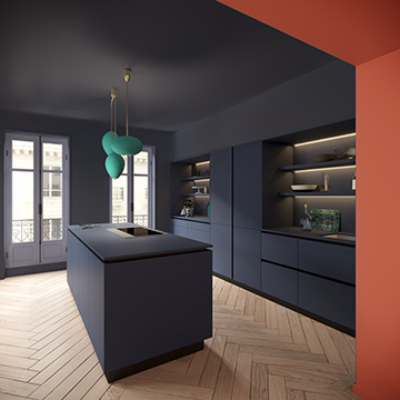 Perspective 3D of a modern kitchen for advertising