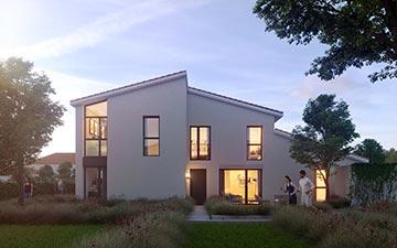 Visualisation 3D d'un logement au crépuscule pour une promotion immobilière