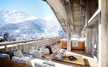 Vue 3D d'une terrasse de chalet de luxe à Chatel avec vue sur les Alpes