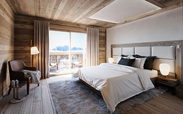 3D visualization of a chalet bedroom by Valentinstudio