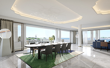 Photorealistic 3D creation of a prestigious villa interior in Cannes