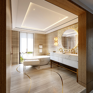 Luxurious bathroom of a high-end villa in 3D perspective
