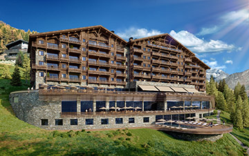 3D architectural visualization of a large resort-hotel chalet in a mountain environment