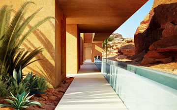 3D Photo of a villa exterior hallway in Morocco