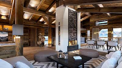 Creation of 3D visuals for real estate promotion : Luxurious chalet in Courchevel.