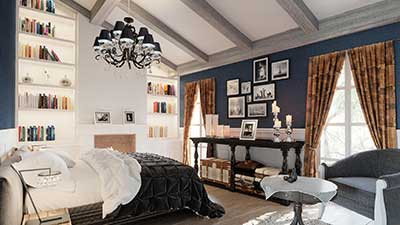A computer generated image of a luxurious room in île-de-Ré for a project of real estate promotion.