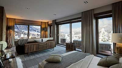 Représentation en 3D photo-réaliste d'une chambre d'un chalet de luxe avec vue sur la montagne.