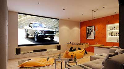 3D Perspective of a Home Cinema in a luxurious villa for real estate promotion.