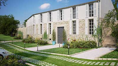Photo of a 3D rendering of a luxurious villa in Île-de-Ré.
