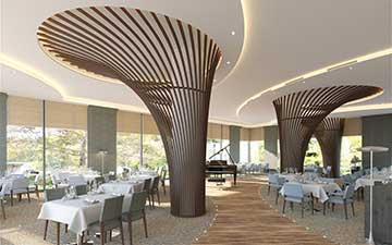 Creation of 3D photos of the interior of a restaurant created by professional computer graphics designers.