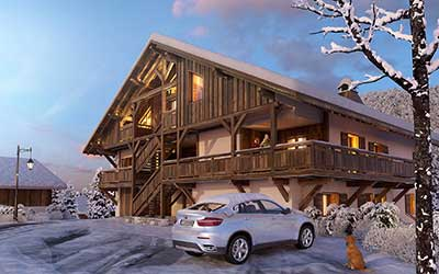3D Perspective Luxurious Chalet created by an agency of 3D Graphic design architects.