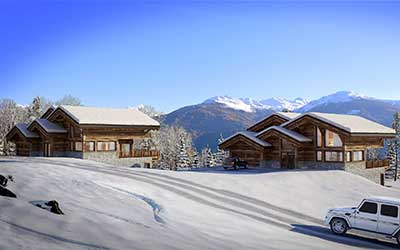 Creation of a 3D perspective of a luxurious chalet for real estate promotion.