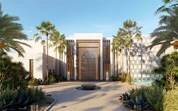 3D render of the entrance of a luxury villa in Morocco