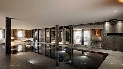 Photo 3D d'une piscine à Chamonix, projet architecture 3D.